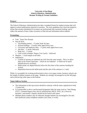 the smith ms business resume guidelines and standards why