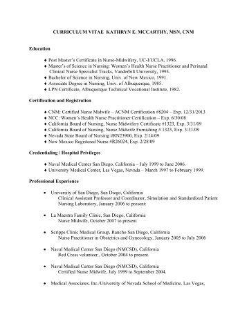 CURRICULUM VITAE KATHRYN E. MCCARTHY, MSN, CNM ...