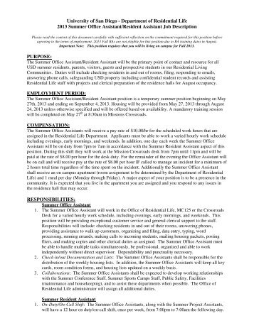 Resident Advisor Resume Resident Advisor Resume Samples Visualcv