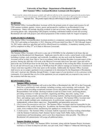 2013 summer office assistantresident assistant job description - Office Assistant Job Description