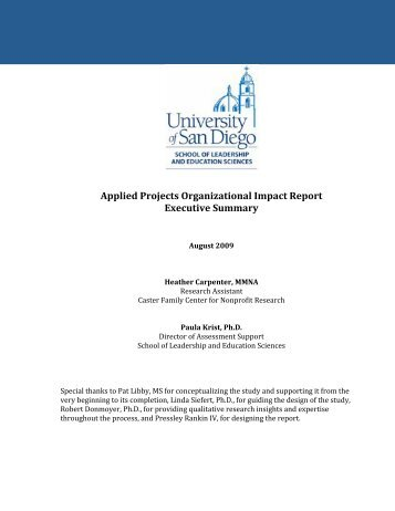 Applied Projects Organizational Impact Report Executive Summary