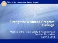 Firefighter Wellness Program Savings - City of San Diego