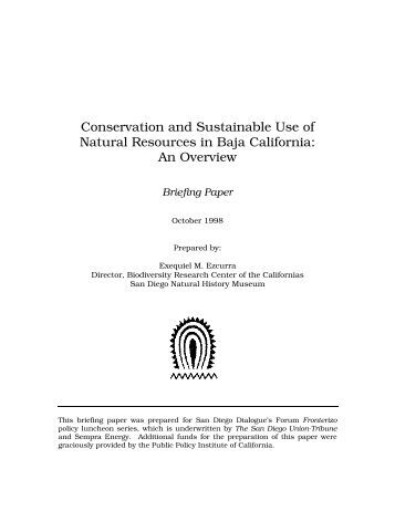 Conservation and Sustainable Use of Natural Resources in Baja ...