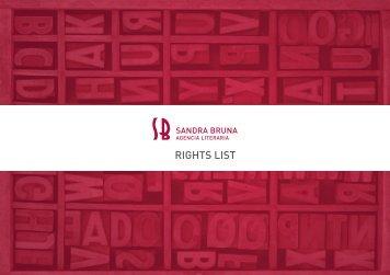 RIGHTS LIST - Sandra Bruna Agencia Literaria