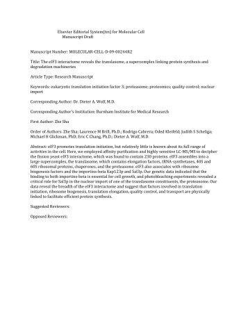 Elsevier Editorial System(tm) for Molecular Cell Manuscript Draft ...