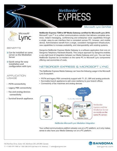 Download the NetBorder Express Microsoft Lync     - Sangoma