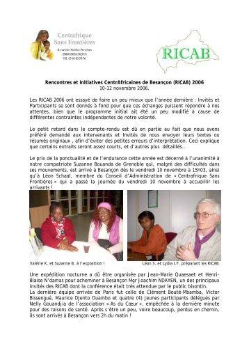 Rencontres et Initiatives CentrAfricaines de Besançon ... - Sangonet