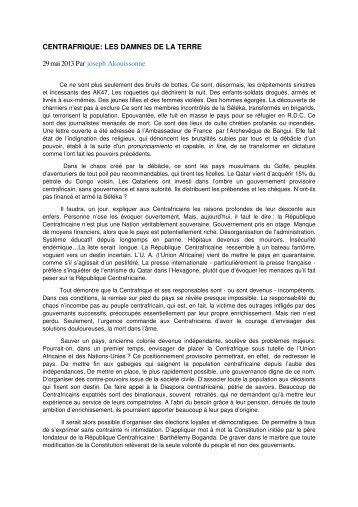 CENTRAFRIQUE: LES DAMNES DE LA TERRE 29 mai ... - Sangonet