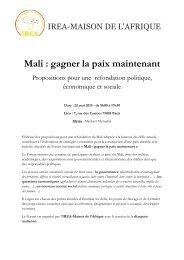 Forum sur le Mali : gagner la paix maintenant. Propositions pour ...