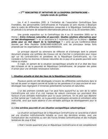 « 1ères RENCONTRES ET INITIATIVES DE LA ... - Sangonet