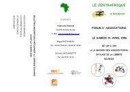 Le Centrafrique à Roubaix. Forum d'Associations, Avril ... - Sangonet
