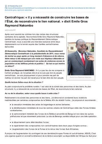 Centrafrique: « il y a nécessité de construire les bases ... - Sangonet
