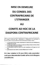 Mise en demeure du Conseil des Centrafricains de l ... - Sangonet