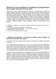 Dossier de la crise humanitaire en Centrafrique et la ... - Sangonet
