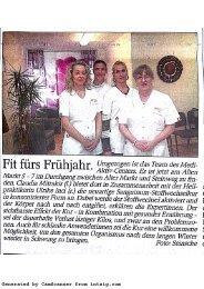 Sanguinum Pressebericht - Fit für's Frühjahr - Mai 2013