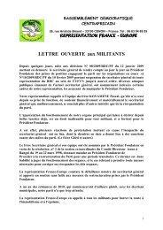 Lettre ouverte aux militants - RDC Europe, 26 Février 2009 - Sangonet
