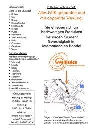 Flyer Weltladen - Eine Welt Verein Oberursel