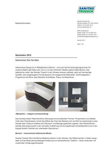 Neuheiten 2012 - Sanitas Troesch AG