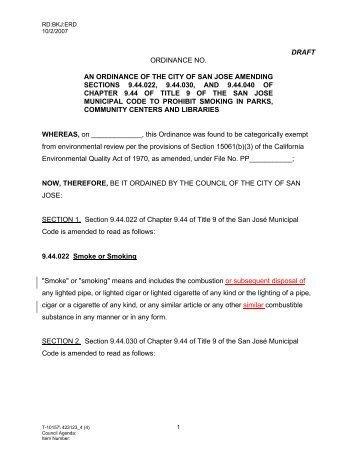 DRAFT ORDINANCE NO. AN ORDINANCE OF ... - City of San José