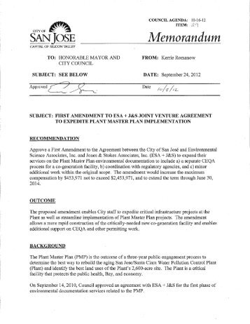 Amendment to Agreement with Environmental ... - City of San José