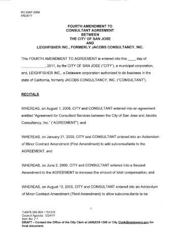 Agreement - City of San José
