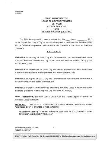 Third Amendment to Lease - City of San José