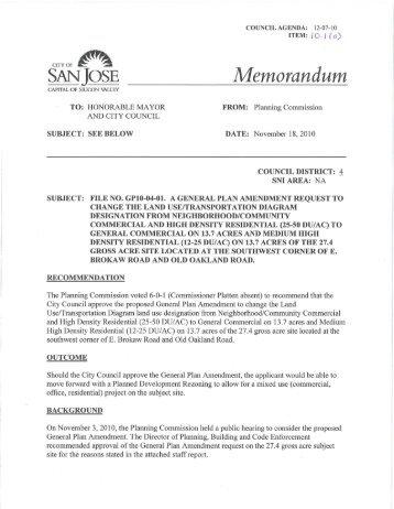 Memorandum - City of San José