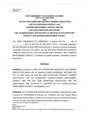 FIRST AMENDMENT TO AGREEMENT ... - City of San José