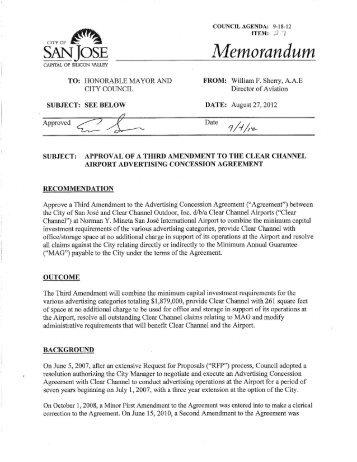 Amendment to the Advertising Concession ... - City of San José