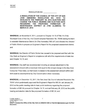 RESOLUTION NO. A RESOLUTION OF THE ... - City of San José