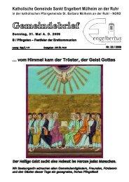 GOTTESDIENSTORDNUNG Sonntag, 31. Mai AD ... - Sankt Engelbert