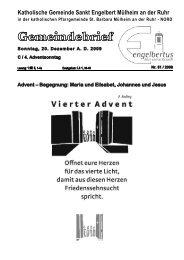 GOTTESDIENSTORDNUNG Sonntag, 20 ... - Sankt Engelbert