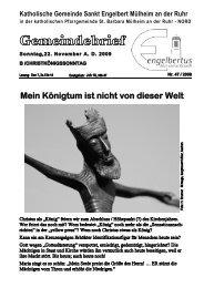 GOTTESDIENSTORDNUNG Sonntag, 22 ... - Sankt Engelbert