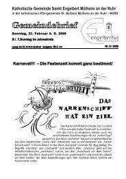 GOTTESDIENSTORDNUNG Sonntag, 22. Februar ... - Sankt Engelbert
