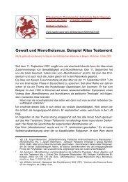 Gewalt und Monotheismus. Beispiel Altes Testament