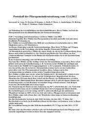Protokoll der Pfarrgemeinderatssitzung vom 13.4.2012