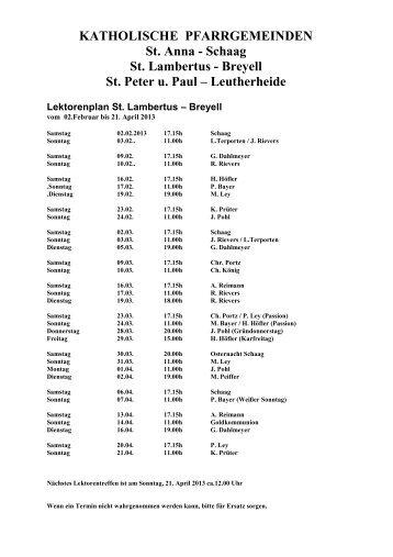 Lektorenplan Breyell 2013-1 - Sankt-Lambertus-Breyell