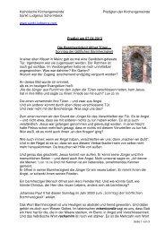 Predigt am 07.04.2013 Die Barmherzigkeit öffnet Türen