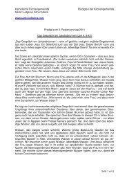 Predigt zum 3. Fastensonntag 2011 Das Gespräch am Jakobsbrunnen