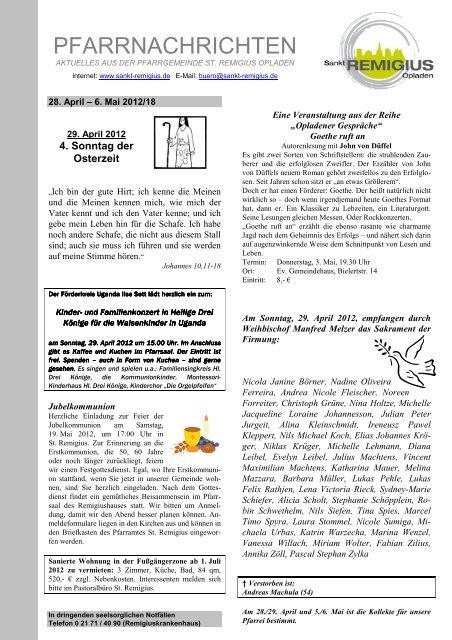 5 Pfarreien 1 Deckblatt 18 St Remigius Opladen
