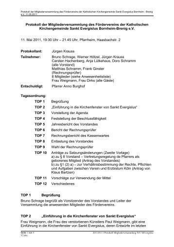 Protokoll der Vorstandssitzung des Fördervereins ... - Sankt Evergislus
