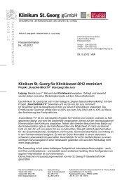Pi 41 - Klinikum St Georg für KlinikAward 2012 nominiert