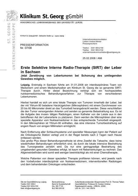 Erste Selektive Interne Radio-Therapie (SIRT) - Haus Leben Leipzig