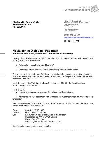 """Mediziner im Dialog mit Patienten - Städtisches Klinikum """"St. Georg"""""""