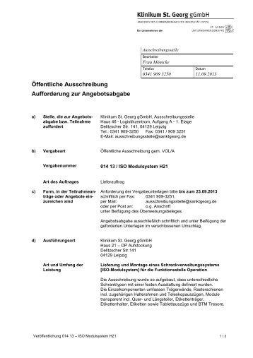 """014 13 ISO Modulsystem H21 - Städtisches Klinikum """"St. Georg"""""""