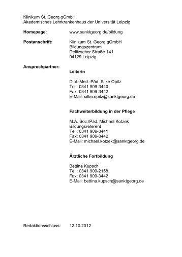 """Katalog - Städtisches Klinikum """"St. Georg"""""""