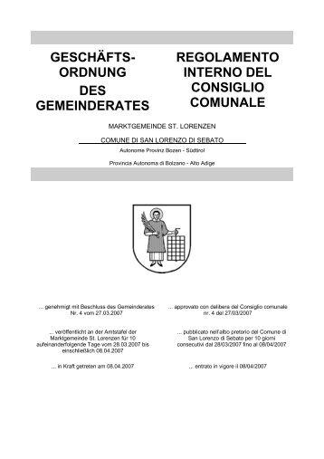 Regolamento interno del Consiglio comunale