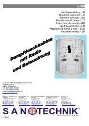 Montageanleitung – D Mounting Instruction – E ... - Sanotechnik