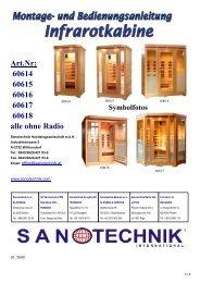 Art.Nr: 60614 60615 60616 60617 60618 alle ohne ... - Sanotechnik