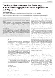 Transkulturelle Aspekte und ihre Bedeutung in der Behandlung ...